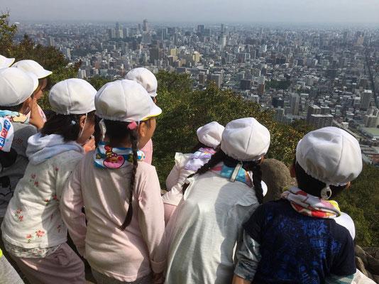 山頂から市街を望むとその奥には山並みが。大きな声で「ヤッホー!」