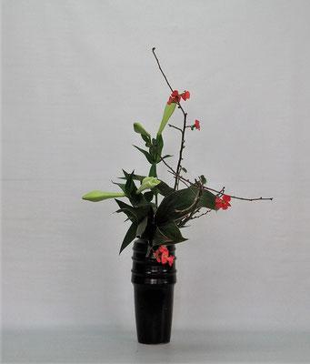 2020.12.1 <花木瓜 鉄砲百合 青ドラセナ> Tamikoさんの作品です。