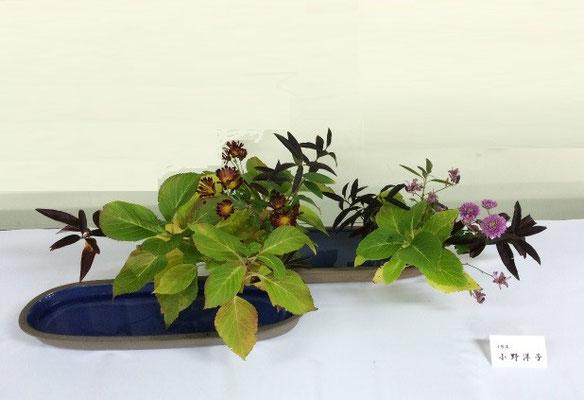 最後に私の作品です。以前、先輩(元の姉弟子)からいただいた花器を使って、身近な季節の移ろいを表現してみました。