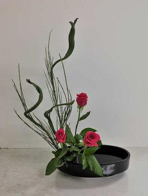 <石化エニシダ バラ> Natsukiさんの作品です。直立型。10月進級講習会のお稽古です。