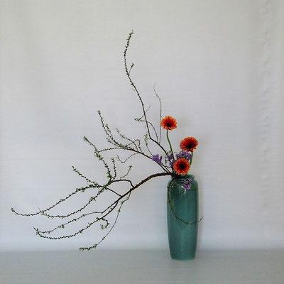 2020.1.21 <雪柳 ガーベラ スターチス> Kumikoさんの作品です。下垂型のお稽古をしてみました。