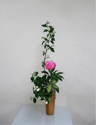 2020.6.24 <梅花空木(バイカウツギ) 芍薬(シャクヤク) ゴッドセフィアナ> Atsukoさんの作品です。花木を表情良く見せるため小枝や花や蕾を整理するのはとても難しいことですね。