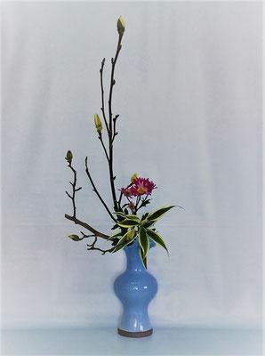 <白木蓮 スプレー菊 竹ドラセナ> Tamikoさんの作品です。