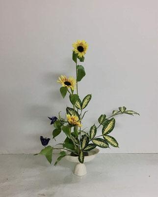 <向日葵(ヒマワリ) ベルテッセン ゴッドセフィアナ> いけばな体験2回目。Rikuくんの作品です。