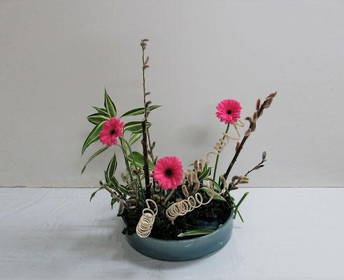 2020.2.19 <猫柳(ネコヤナギ) ガーベラ ドラセナサンデリアーナ 晒し巻き蔓 パセリ> Ittuちゃんの作品です。Ittuちゃんのworldです。とてもよく考えられていると思いました。