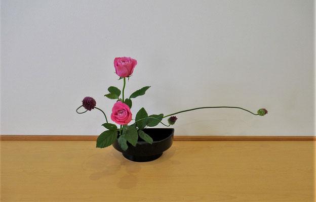 <丹頂アリウム 薔薇(バラ)> Kayoさんは4月研究会の課題のお稽古です。斜め後ろに引いた丹頂アリウムが伸びやかです。