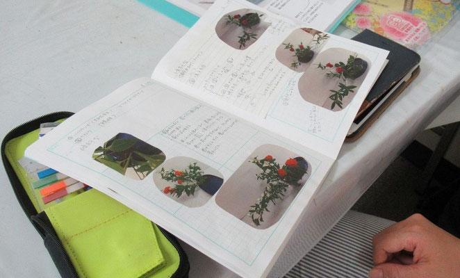 毎回のお稽古の記録を整理しているノートを見せてもらいました。凄い! 見習いたいです。