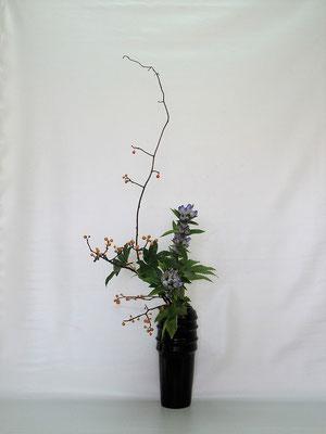 2020.10.20 <蔓梅擬(ツルウメモドキ) 竜胆(リンドウ) 木苺> Tamikoさんの作品です。