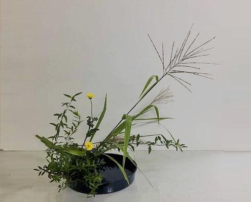 <雪柳 薄 小菊> Kumikoさんの作品です。写景盛花のお稽古。今が盛りの薄を大胆に力強く。台風21号の吹き荒れた風にも耐え抜いた様子のススキでした。