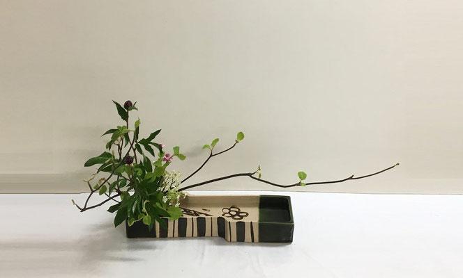 <虫狩 芍薬 撫子> まだ硬そうな芍薬の蕾を見て、織部焼の水盤に自然本位で。若葉が綺麗に思えた虫狩の枝を伸びやかに大胆に挿してみました。