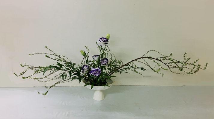 <雪柳(ユキヤナギ) トルコ桔梗 笹葉ルスカス> Rikuくんの作品です。