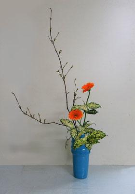 2019.5.15 <オタルモミジ ガーベラ ゴッドセフィアナ> Atsukoさんの作品です。晴れやかでスッキリとした作品にまとめましたね。