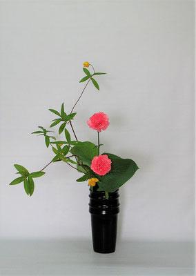 2020.6.9 <未央柳(ミオウヤナギ) カーネーション 擬宝珠(ギボウシ)> Kumikoさんの作品です。未央柳の枝どりに注意していけました。