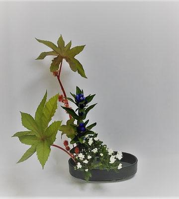 <唐胡麻 竜胆 小菊> Kayoさんの作品です。