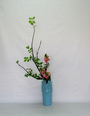 <錦木(ニシキギ) スナップドラゴン> Kumikoさんの作品です。こちらの取合せにはドラセナサンデリアーナがありましたが、こちらも初夏を意識して二種で爽やかにいけてみました。
