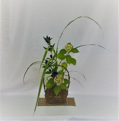 <紫陽花 竜胆 矢羽根薄> Kumikoさんの作品です。