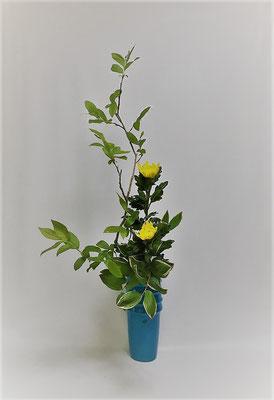 枝ぶりを生かしながらいけた瓶花です。Atsukoさんの作品です。