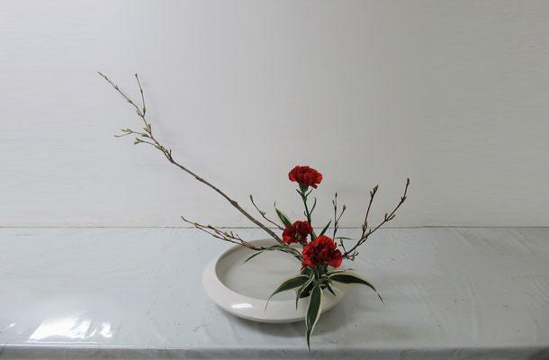 2019.5.15 <オタルモミジ カーネーション ドラセナ・サンデリアーナ> Harutoくんの作品です。シンプルですが、はつらつとした勢いが感じられます。