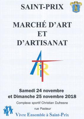 Saint-Prix 2018 : the front of the flyer for the arts and crafts market / le devant du flyer pour le marché d'art et d'artisanat