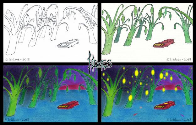 Ebsythria - evolution of the illustration for the luminescent marsh / évolution de l'illustration pour le marais luminescent