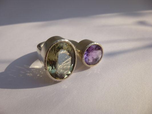 Ring mit Prasiolith, Amethyst, Silber - verkauft © Vivien Reig-Atmer