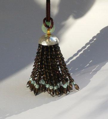 """Kette """"Trottel"""" mit Rauchquarz, Apatit, Mossachat, Feingold, Silber - verkauft © Vivien Reig-Atmer"""