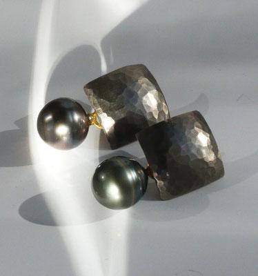 Ohrringe mit Tahitiperlen, Palladium, Silber - verkauft © Vivien Reig-Atmer