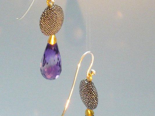 Ohrringe mitAmethyst, Feingold, Silber - verkauft © Vivien Reig-Atmer