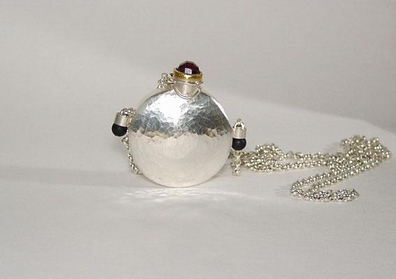 Parfumflaschenkette, Granat, Onyx, Feingold, Silber