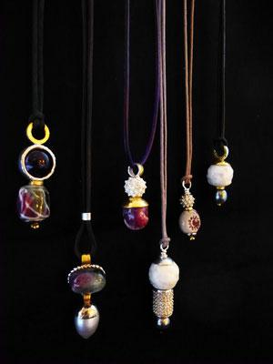 PorzellanPerlen, Amethyst, Bergkristall, Tahitiperle, Feingold, Silber