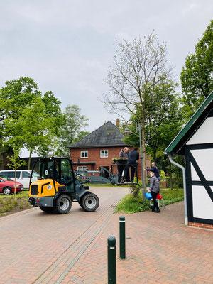 Mitglieder des Dorfvereins bringen einen hängenden Blumenkasten hinter dem Dorfhaus an.
