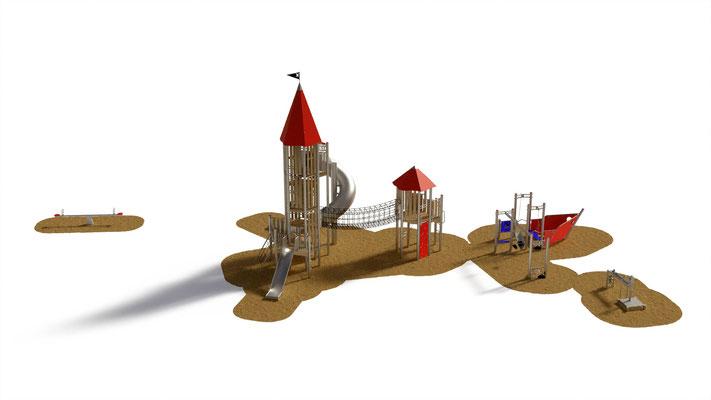 Vogelperspektive - so sieht der Spielplatz von oben aus.