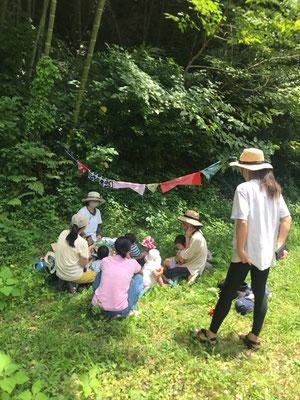 7月15日、大沢谷広場プロジェクト(青空共同保育つくしとたね)