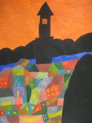 2010 『塔のある町』 41cm×32cm