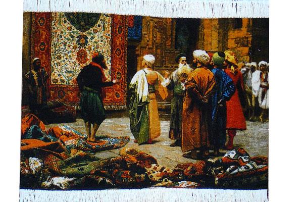 Tappeti Udine, arazzo Tabriz con scena di bazar Egitto mercante tappeti