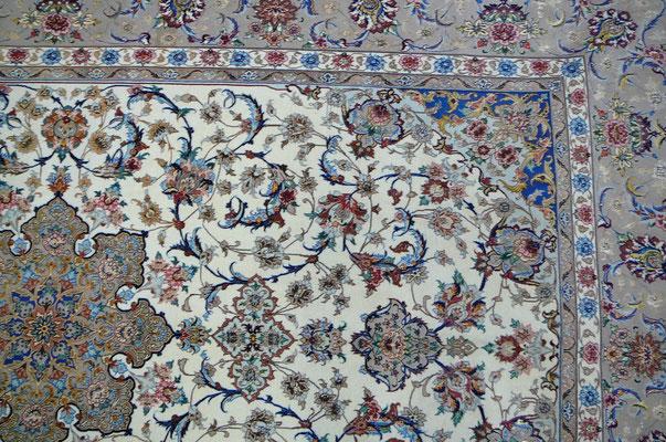tappeto Udine- tappeto persiano Isfahan capo lavoro di maestro con sua firma. trama e ordito di seta uno di tappeti più importanti del persia e mondo