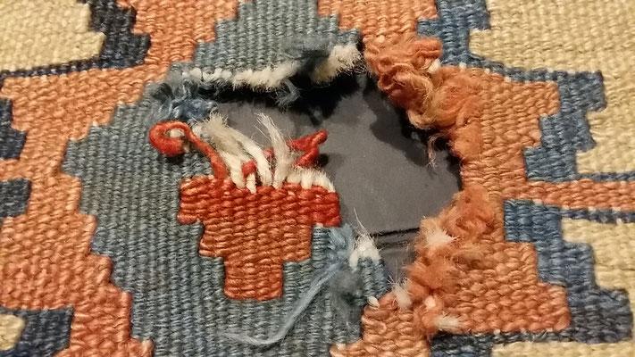 kilim prima da restaurare- tappeti tabriz carpet udine