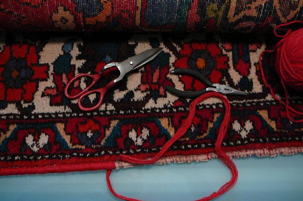 riparazione bordo tappeto udine- bordo consumato tappeto persiano baktiari- tabriz carpet udine