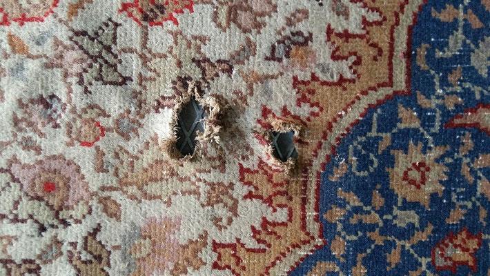 tabriz carpet Udine- tappeto turco antico 400x400 zona marcito da restaurare