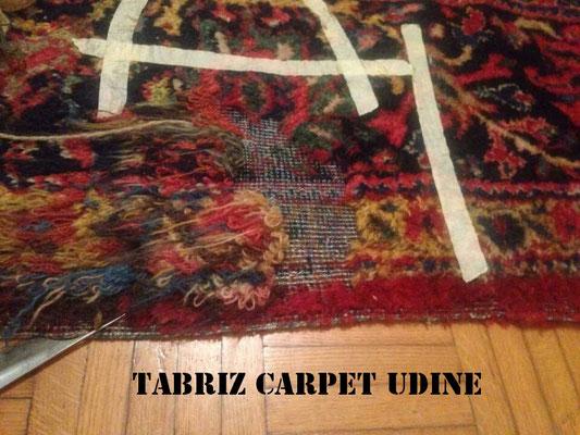 tappeto tabriz carpet udine, tappeto grande tarmato, ricostruzione parte rovinato dal le tarme.