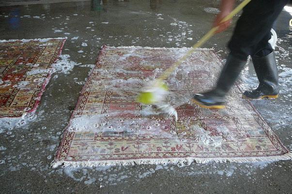 fase 3: SPAZZOLATURA, utilizzando un'apposita spazzola con un apposito sapone si procede pulendo il tappeto