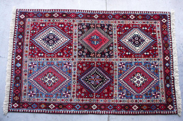 Negozio tappeti persiani Udine-tappeto yalameh persiano originale 100% di lana disegno geometrico disegno khorgini