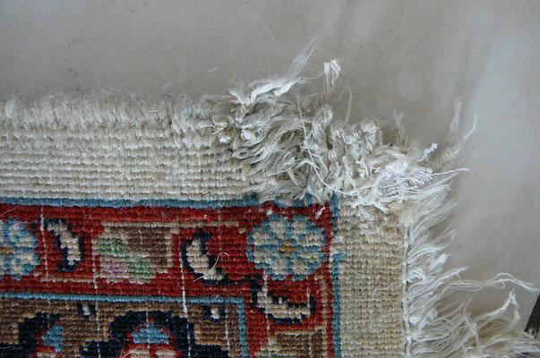 tabriz carpet Udine centro riparazione. tappeto persiano mud fine lana misto seta prima da restauro