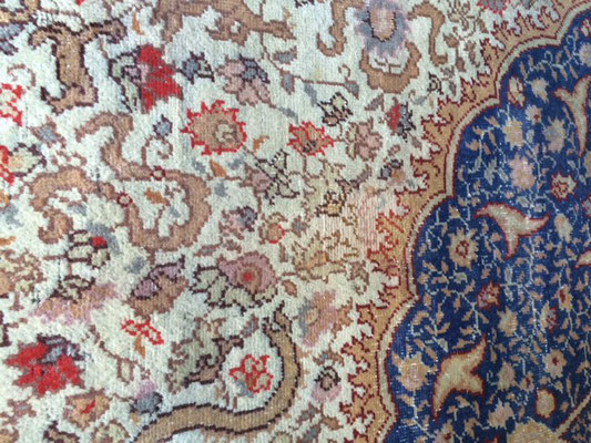 tabriz carpet udine- tappeto antico turco misura 400x400 dopo restauro artistico