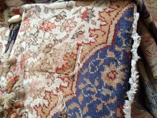 tappeti udine- tappeto turco antico dopo annodatura con lana vecchio ancora da rasare e finitura