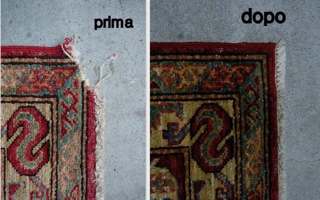 Restauro tappeto Udine tappeto kazak angolo rovinato da cane- tabriz carpet Udine