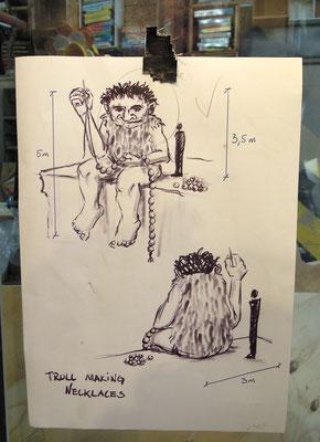 Entwurf zu einer Troll-Skulptur im Atelier von Thomas Dambo in Kopenhagen. Foto: Christoph Schumann, 2020