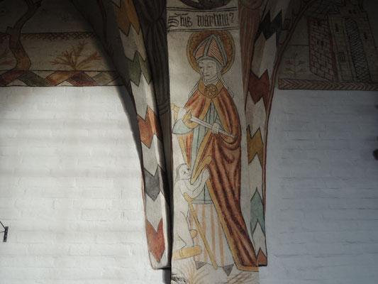 Kalkmalereien in der mittelalterlichen Kirche von Sæby zeigen Bibelszenen. Foto: C. Schumann, 2020