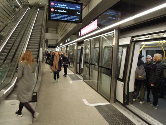 Blick auf einen Bahnsteig des Cityrings der M3 in Kopenhagen. Foto: C. Schumann, 2019