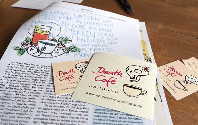 Kleine Infokärtchen für das Hamburger Death Café, das Ina Hattebier leitet. Foto: Christoph Schumann, 2020/21